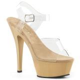 Beige 18 cm Pleaser KISS-208 Zapatos Tacón Aguja Plataforma