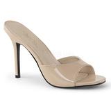 Beige Charol 10 cm CLASSIQUE-01 zapatos de zuecos tallas grandes