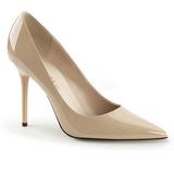 Beige Charol 10 cm CLASSIQUE-20 zapatos de stilettos tallas grandes