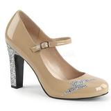 Beige Charol 10 cm QUEEN-02 zapatos de salón tallas grandes