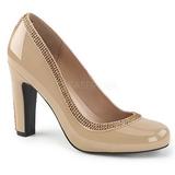 Beige Charol 10 cm QUEEN-04 zapatos de salón tallas grandes