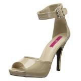 Beige Charol 12,5 cm EVE-02 sandalias tallas grandes