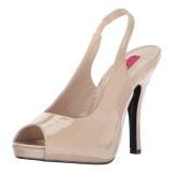 Beige Charol 12,5 cm EVE-04 sandalias tallas grandes