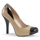 Beige Charol 12,5 cm EVE-07 zapatos de salón tallas grandes