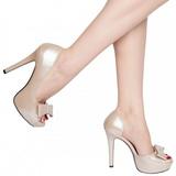 Beige Charol 12 cm LUMINA-32 Zapato Salón de Noche con Tacón