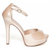 Beige Charol 12 cm LUMINA-45 Zapato Salón de Noche con Tacon