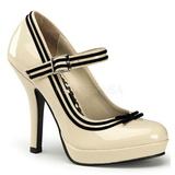 Beige Charol 12 cm PINUP SECRET-15 Mary Jane Plataforma Zapato de Sal�n