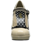 Beige Charol 12 cm PINUP SECRET-15 Mary Jane Plataforma Zapatos de Salón