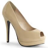 Beige Charol 13,5 cm BELLA-12 Stiletto Zapatos Tacón de Aguja