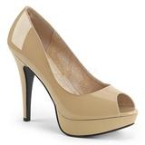 Beige Charol 13,5 cm CHLOE-01 zapatos de salón tallas grandes