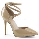 Beige Charol 13 cm AMUSE-25 Zapato Salón de Noche con Tacón