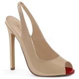 Beige Charol 13 cm SEXY-08 zapatos de salón slingback