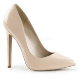 Beige Charol 13 cm SEXY-20 zapatos tacón de aguja puntiagudos