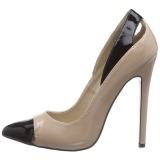 Beige Charol 13 cm SEXY-22 Zapato Salón Clasico para Mujer