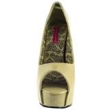 Beige Charol 14,5 cm Burlesque TEEZE-22 Stiletto Zapatos Tacón de Aguja