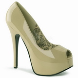 Beige Charol 14,5 cm TEEZE-22 Stiletto Zapatos Tacón de Aguja