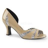 Beige Charol 7,5 cm JENNA-03 zapatos de salón tallas grandes