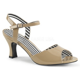 Beige Charol 7,5 cm JENNA-09 sandalias tallas grandes