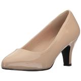Beige Charol 8 cm DIVINE-420W zapatos de salón tacón bajo
