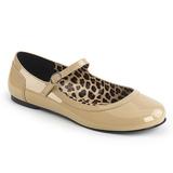 Beige Charol ANNA-02 zapatos de bailarinas tallas grandes