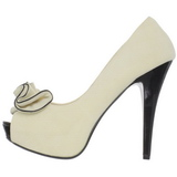 Beige Gamuza 13,5 cm LOLITA-10 Plataforma Zapatos de Salón