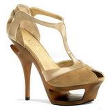 Beige Gamuza 14 cm DELUXE-682 Platform High Heel Zapatos