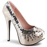 Beige Lentejuelas 14,5 cm TEEZE-06SQ Plataforma Zapato Salón
