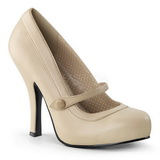 Beige Mate 12 cm retro vintage CUTIEPIE-02 zapatos mary jane con plataforma escondida
