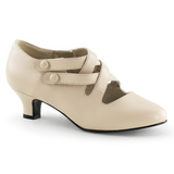 Beige Mate 5 cm retro vintage DAME-02 zapatos de salón tacón bajo