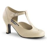 Beige Mate 7,5 cm retro vintage FLAPPER-26 zapatos de salón tacón bajo