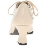 Beige Mate 7 cm retro vintage VICTORIAN-03 zapatos de salón tacón bajo