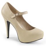 Beige Polipiel 13,5 cm CHLOE-02 zapatos de salón tallas grandes