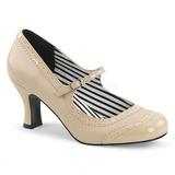Beige Polipiel 7,5 cm JENNA-06 zapatos de salón tallas grandes