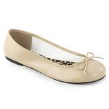 Beige Polipiel ANNA-01 zapatos de bailarinas tallas grandes