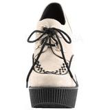 Beige Polipiel CREEPER-302 zapatos de cuñas creepers mujer