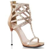 Beige Rhinestone 11,5 cm CHIC-32 Platform High Heels Shoes