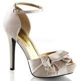 Beige Satinado 12 cm LUMINA-36 Zapato Sal�n de Noche con Tac�n