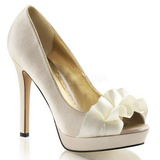 Beige Satinado 12 cm LUMINA-42 Zapato Salón de Noche con Tacon