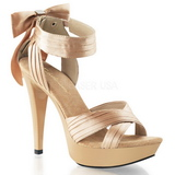 Beige Satinado 13 cm COCKTAIL-568 Zapatos de Tacón Alto