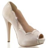 Beige Satinado 13 cm LOLITA-05 Zapato Salón de Noche con Tacón