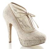 Beige Satinado 13 cm LOLITA-32 Zapato Salón de Noche con Tacón
