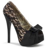 Beige Satinado 14,5 cm TEEZE-28 Plataforma Zapatos de Salón