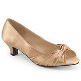 Beige Satinado 5 cm FAB-422 zapatos de salón tallas grandes
