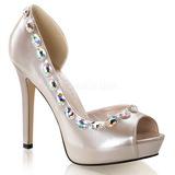Beige Strass 12 cm LUMINA-38 Zapato Salón de Noche con Tacón