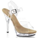 Beige Transparente 13 cm LIP-108 Zapatos Tacón Aguja Plataforma