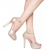 Beige Varnished 12 cm LUMINA-45 High Heeled Evening Pumps Shoes