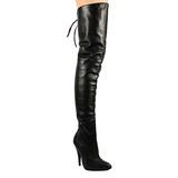 Black Leather 13 cm LEGEND-8899 Overknee Boots Flat Heels