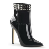 Black Patent 13 cm SEXY-1006 Flat Ankle Calf Boots Women
