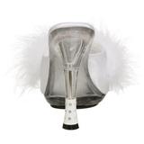 Blanco 12,5 cm GLITZY-501-8 Tacón plumas de marabu Mules Calzado