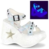 Blanco 13 cm Demonia DYNAMITE-02 lolita zapatos sandalias con cuña alta